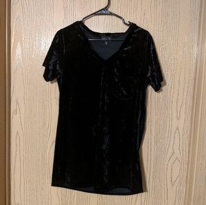 Poof! black crushed velvet v-neck tee w pocket